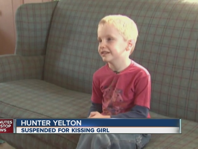 6 year old suspended for kissing girl